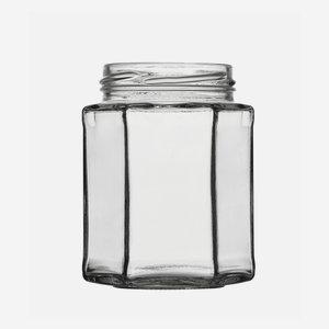 Hexagonal jar 278ml, white, wide mouth: TO 63