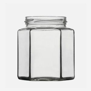 Hexagonal jar 390ml, white, wide mouth: TO 70