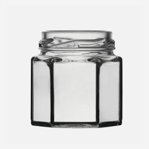 Hexagonal jar 47ml, white, wide mouth: TO 43