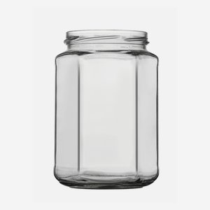 Hexagonal jar 720ml, white, wide mouth: TO 82