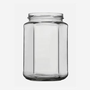 Hexagonal jar 720ml, white, wide mouth: TO 82