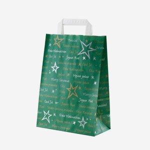 Carrier bag with stars design, green / white