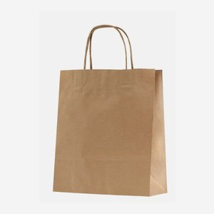 Carrier bag brown with cord handles, neutral