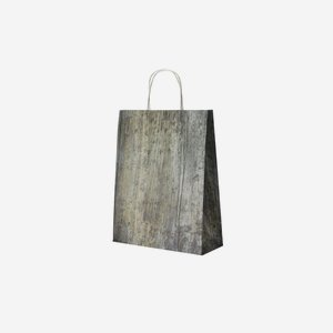 Carrier bag white with cord handles, timber design
