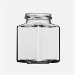 Square jar 212ml, white,wide mouth: TO 53