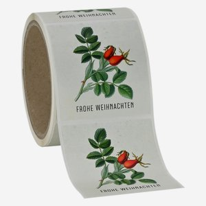 "Label Christmas, motive ""Rose hip"", 65x70mm"