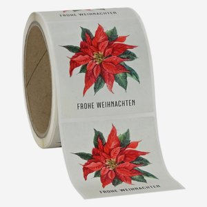 "Label Christmas, motive ""Poinsettia"", 65x70mm"