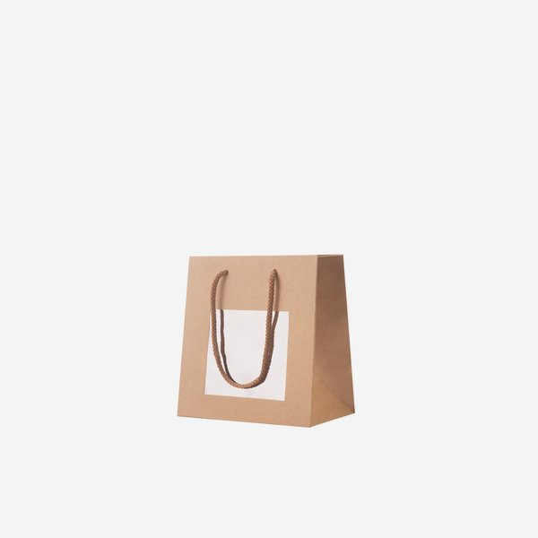 Gift carrier bag, 15x16x8cm, with window