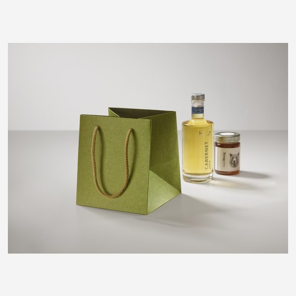Gift carrier bag, green, without window