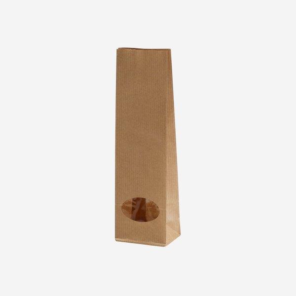 Block bottom bag, brown/brown, window oval