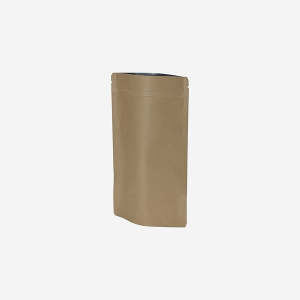 Stand-up pouch, brown, H225 x W130 + D70 mm