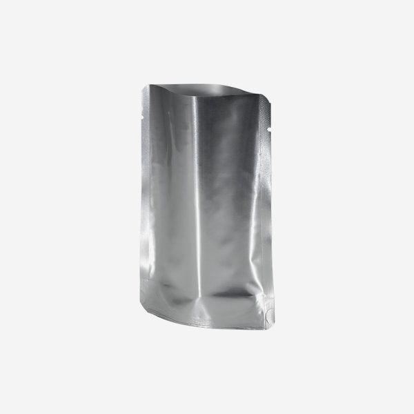 Stand-up pouch, silver, H140 x W93 x D20 mm